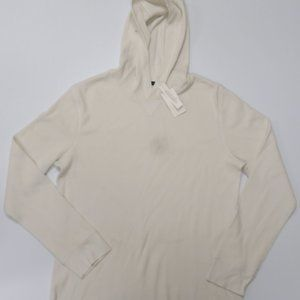 Vince Waffle Knit Hoodie Mens XL New Ivory Cotton